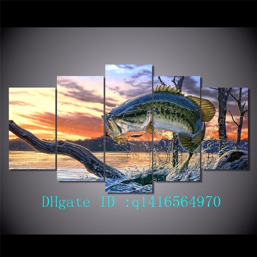 2018 Jumping Fish Landscape,canvas Prints Wall Art Oil Painting Pertaining To Jump Canvas Wall Art (Image 2 of 20)