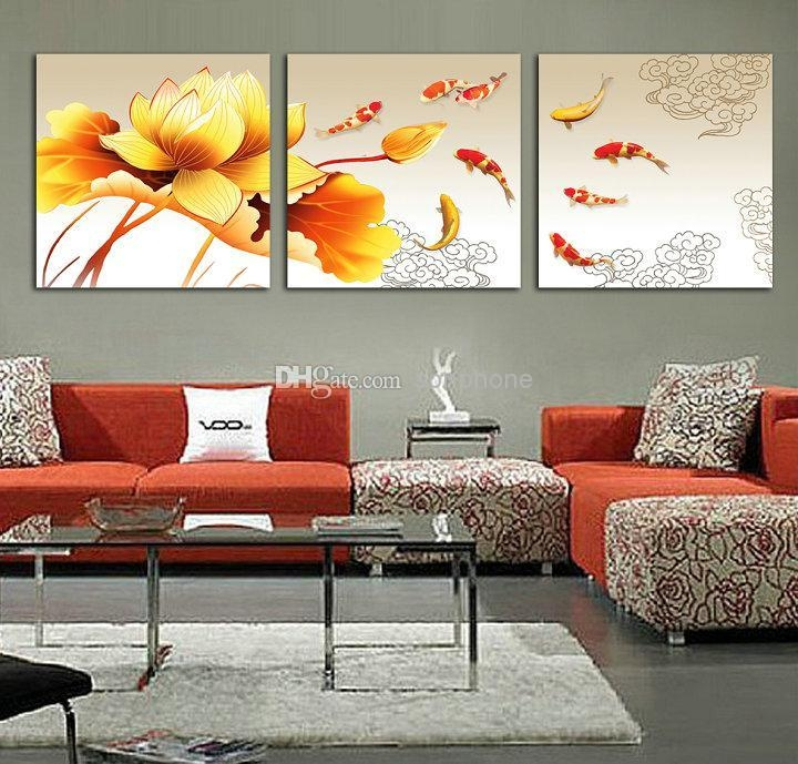 2018 Koi Fish Oil Painting On Canvas Framed 3 Panel Huge Wall Art Pertaining To Koi Canvas Wall Art (View 3 of 20)