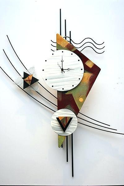 2018 Latest Abstract Clock Wall Art | Wall Art Ideas In Abstract Metal Wall Art With Clock (Image 2 of 20)