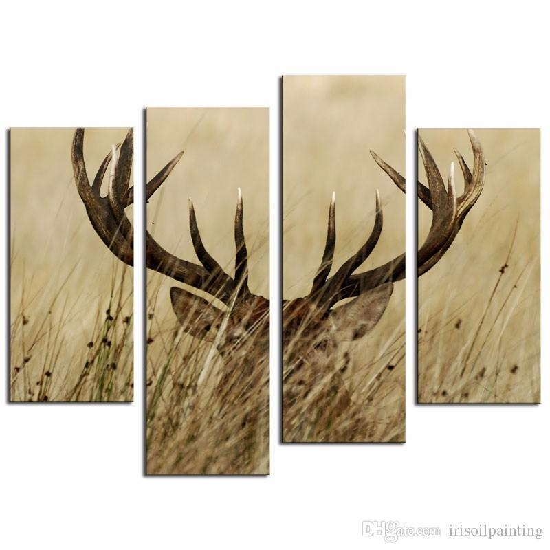 2018 Lk471 4 Panel Wall Art Deer Stag With Long Antler In The Regarding Deer Canvas Wall Art (View 8 of 20)