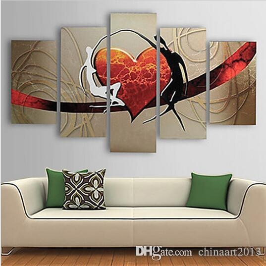 2018 Pure Hand Painted Abstract Heart Oil Painting On Canvas With Abstract Heart Wall Art (Image 2 of 20)