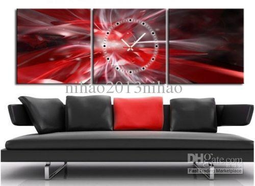 2018 Red & Silver Abstract Canvas Prints Set Of 3 With Clock Within Red Canvas Wall Art (Image 1 of 20)