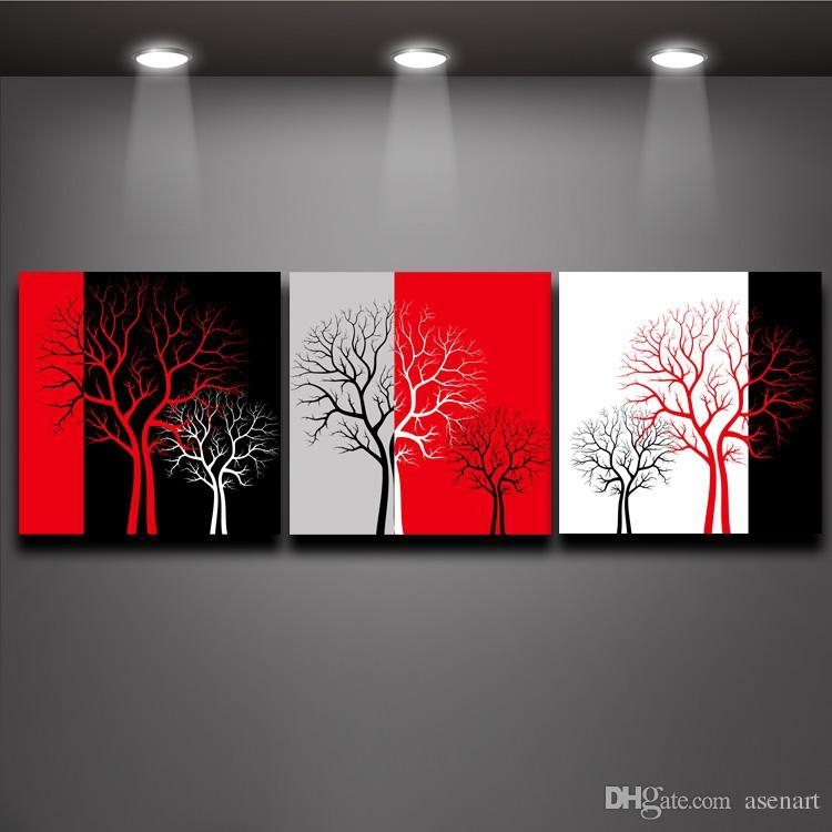 2018 Red Black White Three Colors Tree Picture Oil Painting Prints With Canvas Wall Art In Red (Image 2 of 20)
