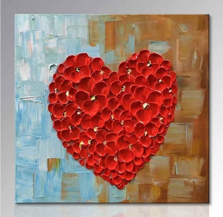 2018 Unframed Hand Painted Red Heart Oil Painting On Canvas In Abstract Heart Wall Art (Image 3 of 20)