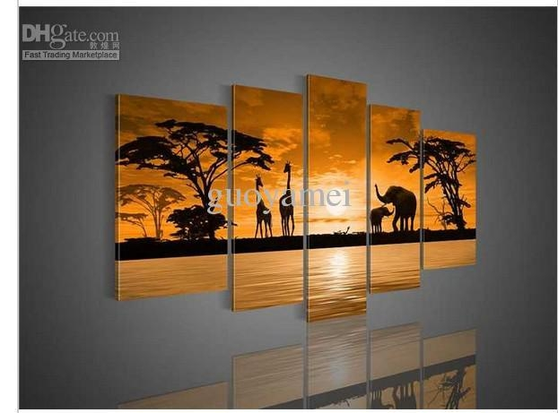 2018 Wall Art Sunset Woods The Giraffe Elephant Landscape Oil With Regard To Giraffe Canvas Wall Art (Image 1 of 20)