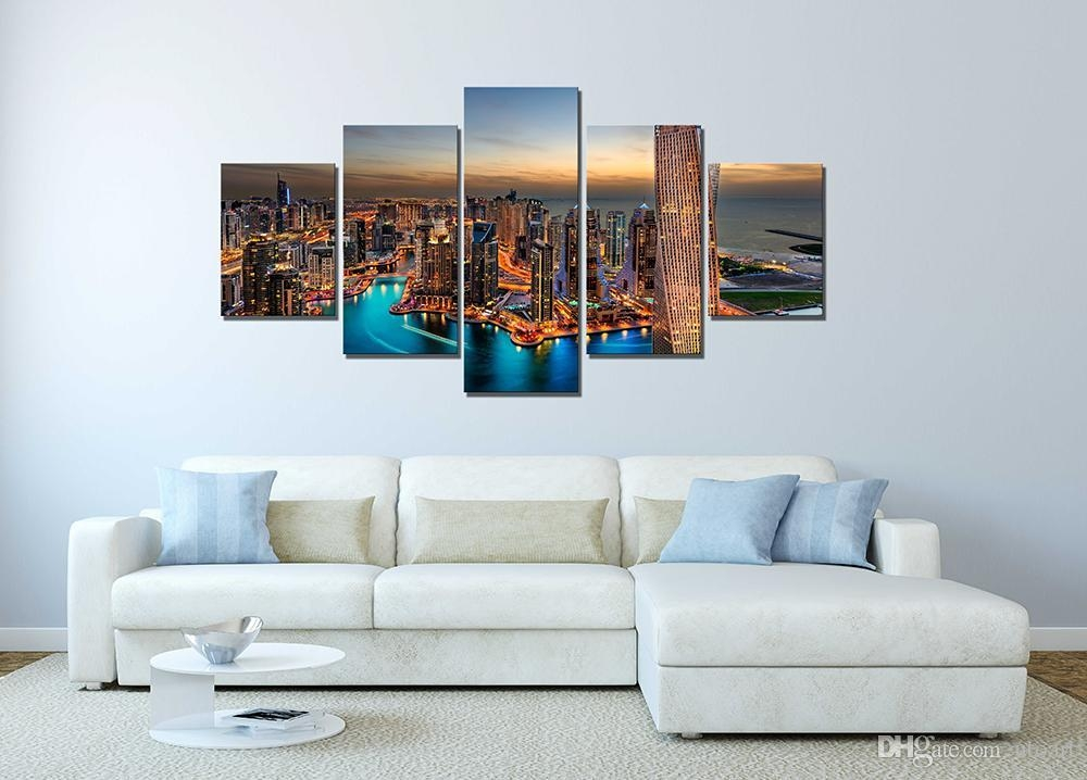 2018 Wall Decor Canvas Painting Canvas Art Dubai Uae Buildings For Dubai Canvas Wall Art (Image 1 of 20)