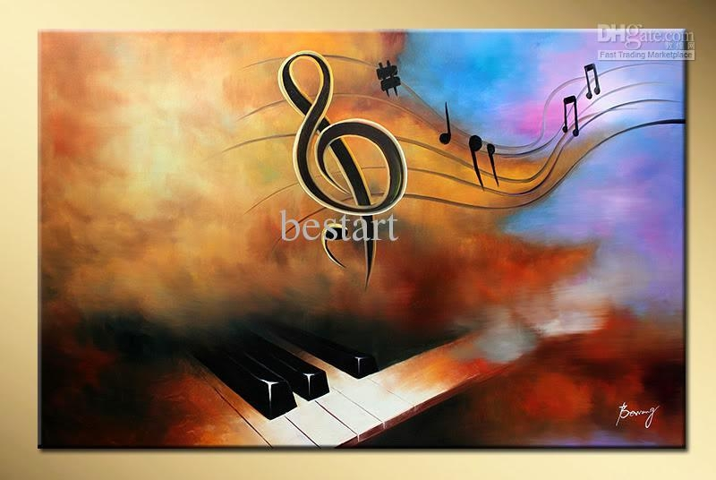 2018 Wholesale Hand Painted Decorative Wall Art Music Piano In Abstract Music Wall Art (Image 1 of 20)