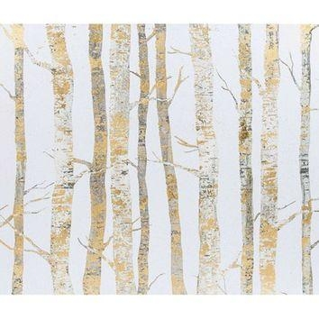 "24"" X 26"" Cream & Gold Birch Trees Canvas From Hobb With Regard To Canvas Wall Art At Hobby Lobby (Image 1 of 20)"