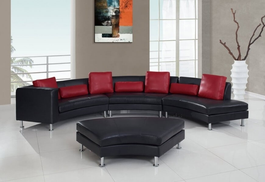 25 Contemporary Curved And Round Sectional Sofas Within Red Leather Sectional Sofas With Ottoman (Image 1 of 10)