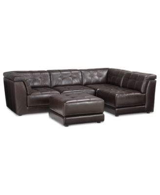 $2,899 (Add Corner Piece @ $600) Stacey Leather 5 Piece Modular With Regard To Leather Modular Sectional Sofas (Image 1 of 10)