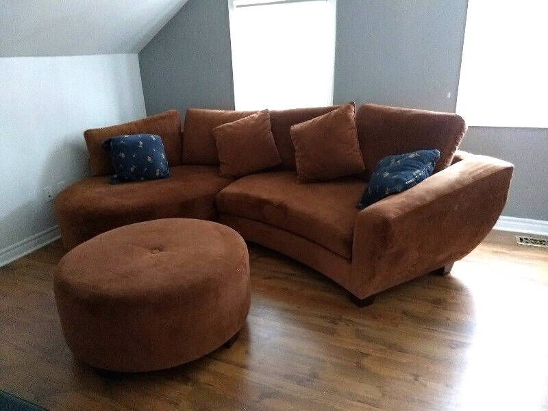 2Pc Microfiber Sectional With Large Ottoman. | Couches & Futons Regarding Durham Region Sectional Sofas (Photo 2 of 10)