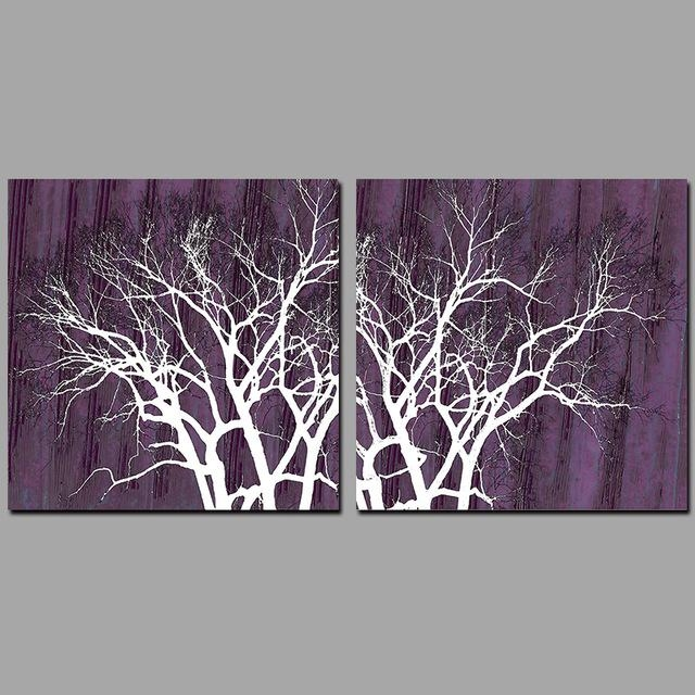 2Pcs Modern Abstract Wall Purple Pictures Decoration Forest Trees For Purple And Grey Abstract Wall Art (Image 3 of 20)