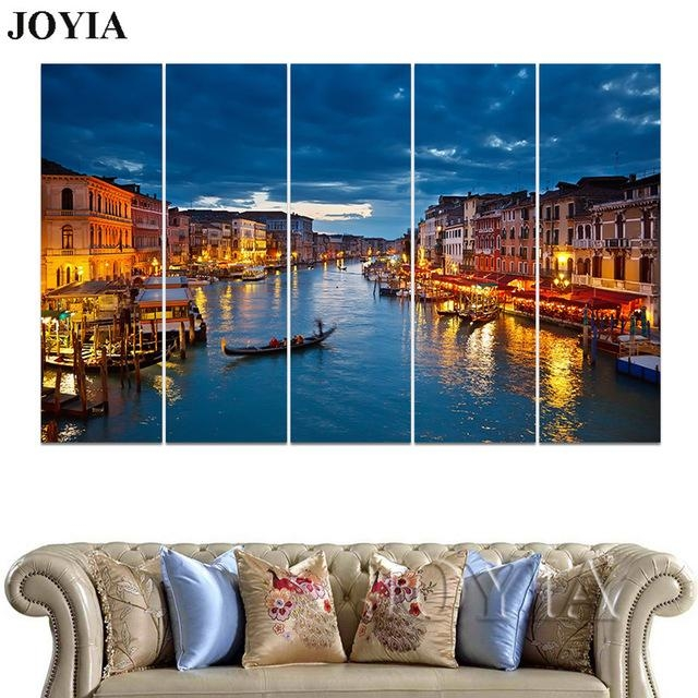 3 4 5 Piece Wall Art Grand Canal Blue Night Venice Photo Wall Within Italy Canvas Wall Art (Image 1 of 20)