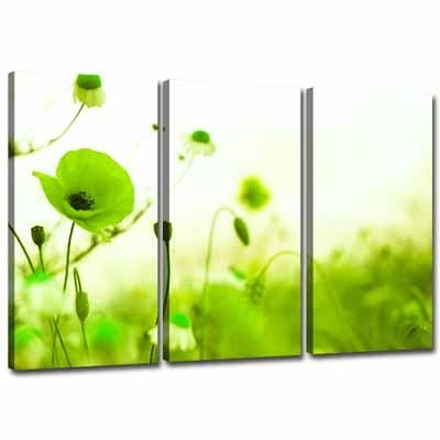 3 Green Canvas Wall Decor | Lime Green Canvas Wall Art 3 Pictures Inside Lime Green Abstract Wall Art (Image 3 of 20)