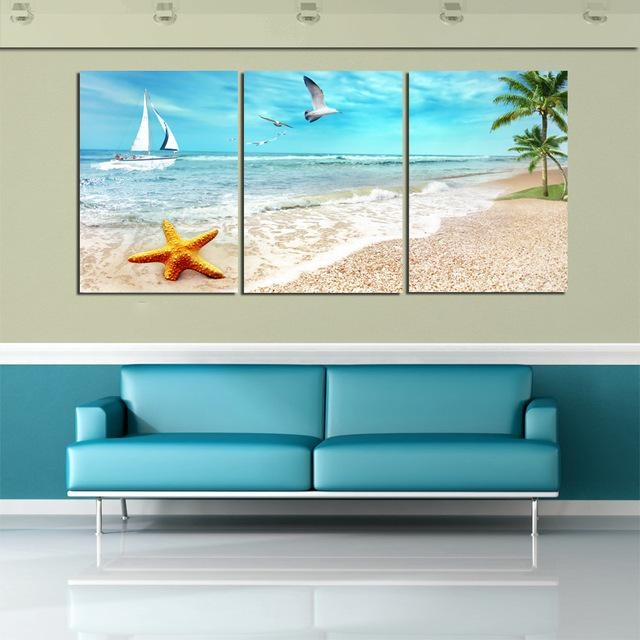 3 Panel Beach Canvas Seascapes Palm Tree Paintings Wall Art Within Beach Canvas Wall Art (Photo 6 of 20)