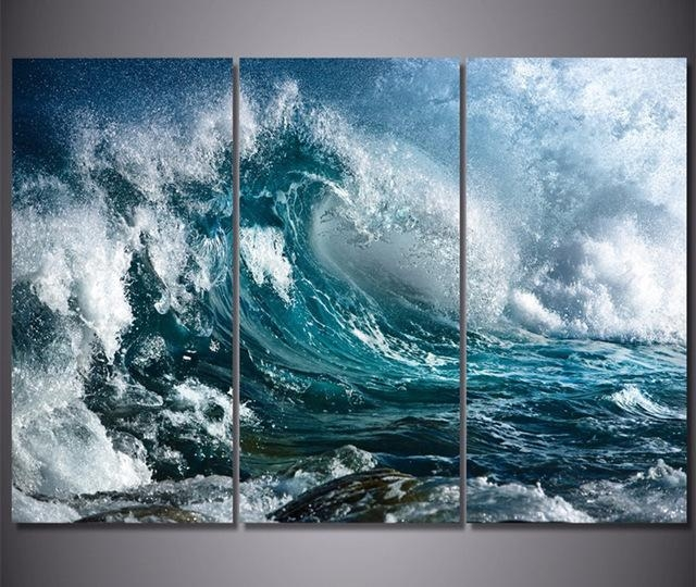 3 Panel Canvas Wall Art Blue Ocean Sea Waves Painting The Picture Inside Blue Canvas Wall Art (Image 2 of 20)