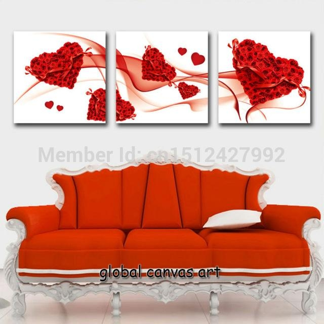3 Panel Framed Modern Home Decoration Wall Art Picture Rose Red With Regard To Hearts Canvas Wall Art (Image 2 of 20)