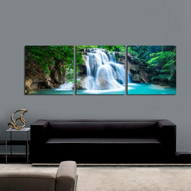 3 Panel Green Forest Waterfall Canvas Wall Art Print Painting Intended For Nature Canvas Wall Art (Photo 5 of 20)