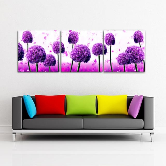 3 Panel Modern Dandelion Flower Painting On Canvas Wall Art Regarding Dandelion Canvas Wall Art (Image 1 of 20)