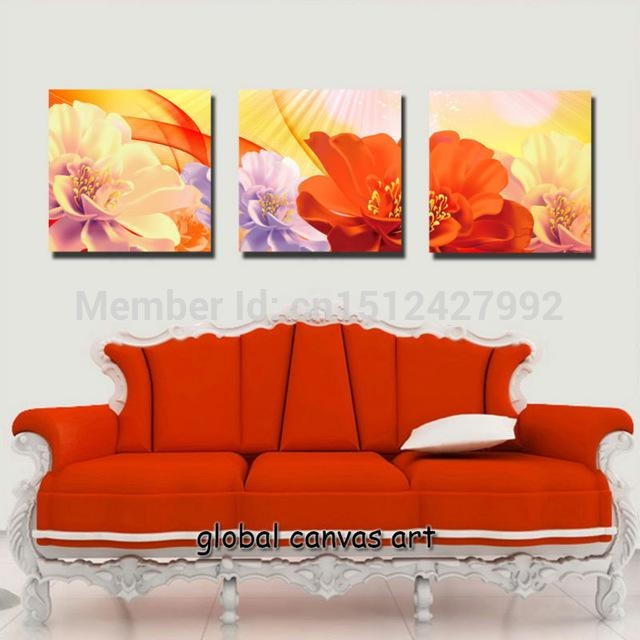 3 Panel Modern Home Decoration Wall Art Picture Orange Flower Pertaining To Orange Canvas Wall Art (View 2 of 20)