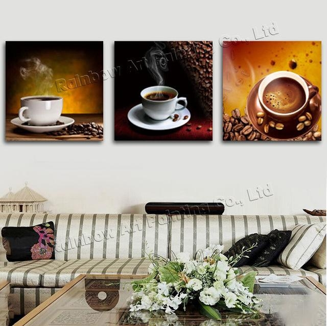 3 Panel Modern Printed Coffee Canvas Art Painting Picture Cuadros In Coffee Canvas Wall Art (Image 3 of 20)