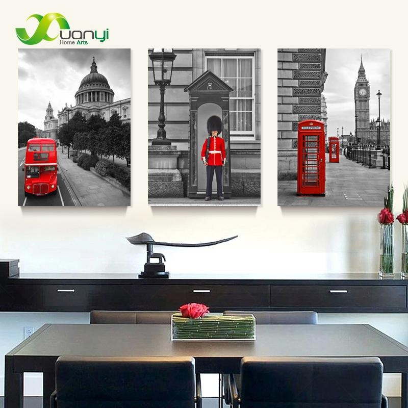 3 Panel Modern Printed London City Wall Painting Canvas Landscape Inside London Canvas Wall Art (Image 3 of 20)