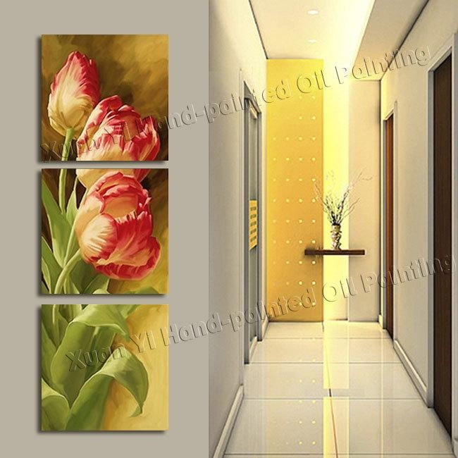 3 Panel Modern Printed Tulip Flower Painting Picture Cuadros In Canvas Wall Art Of Flowers (View 11 of 20)