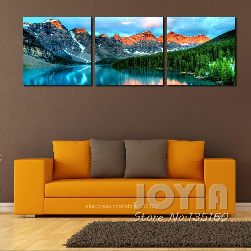 3 Panel Nature Scenery Wall Art Mountain Lake Landscape Painting Throughout Nature Canvas Wall Art (Image 5 of 20)