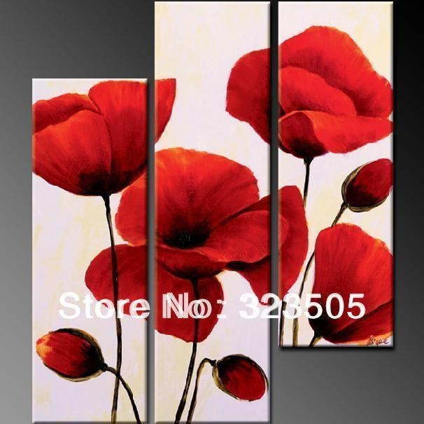 3 Panel Red Poppy Floral Canvas Wall Art Abstract Modern Acrylic With Regard To Poppies Canvas Wall Art (Image 2 of 20)