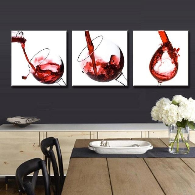 3 Panel Red Wine Glass Painting Canvas Wall Art Picture Home Within Canvas Wall Art In Red (Image 3 of 20)