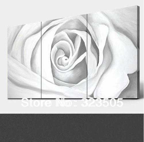 3 Panel Rose Canvas Wall Art Modern Abstract Three Piece Rose For Roses Canvas Wall Art (View 6 of 20)