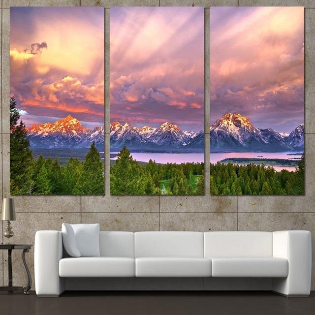 3 Panels Canvas Art Snow Mountains Cloudy Sky Home Decor Wall Art Within Mountains Canvas Wall Art (Image 2 of 20)