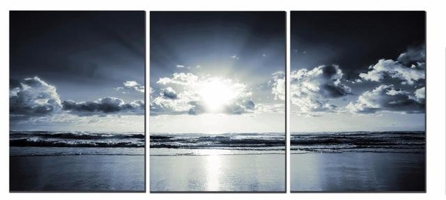 3 Panels The Black White Sea Canvas Prints Wall Art Landscape For Landscape Canvas Wall Art (Image 2 of 20)