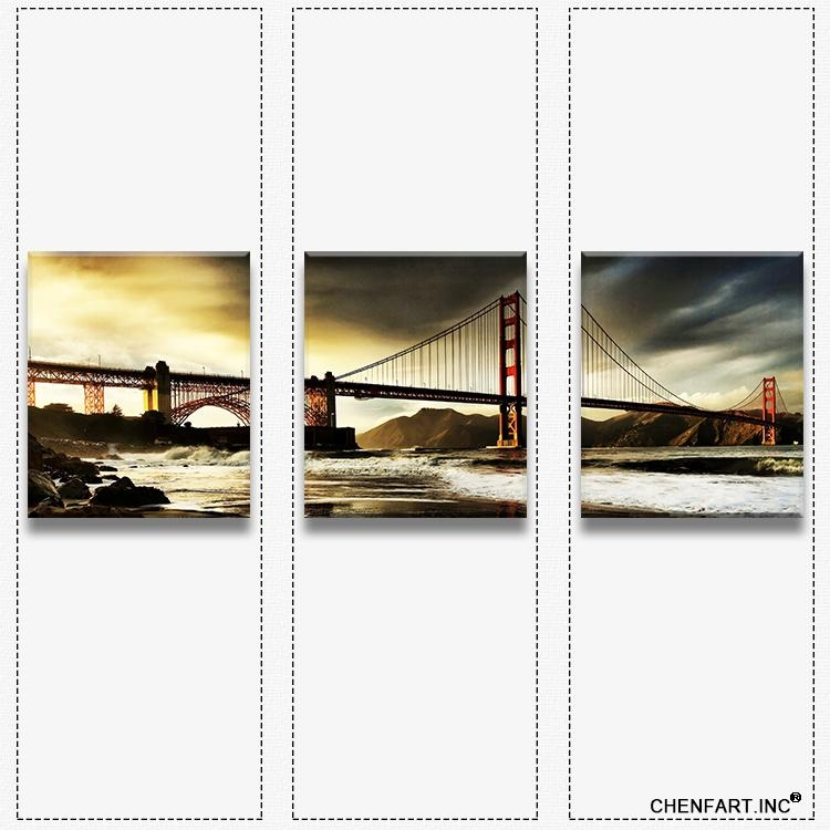 3 Panels Wall Art Set Print On Canvas Wall Painting Golden Gate With Golden Gate Bridge Canvas Wall Art (Image 2 of 20)