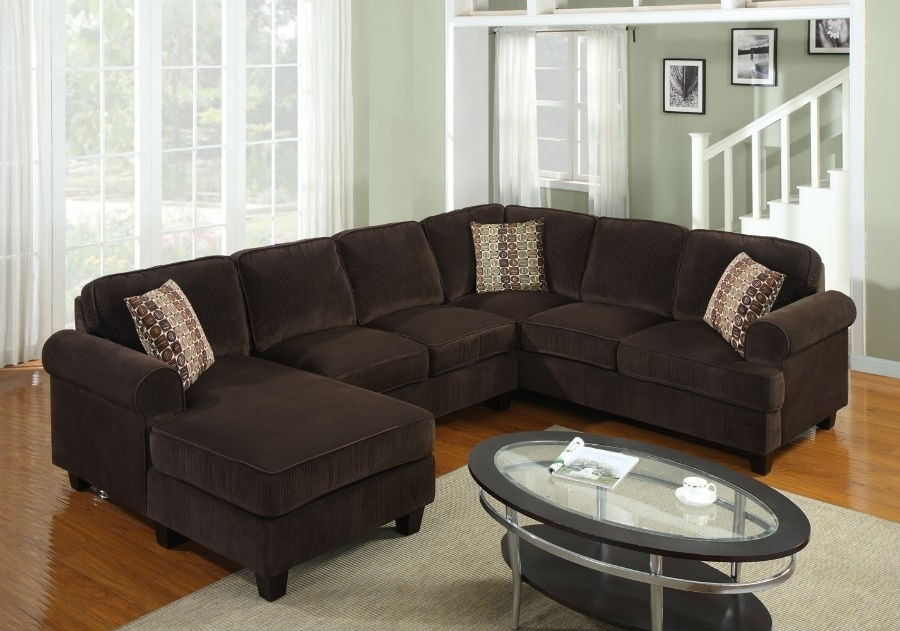 3 Pc Modern Brown Corduroy Sectional Sofa Living Room Set Tbqs727P3 For Chocolate Sectional Sofas (View 7 of 10)