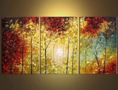 3 Pcs Landscape Canvas Art : Cheap Oil Paintings|Paintings For Pertaining To Landscape Canvas Wall Art (Image 3 of 20)