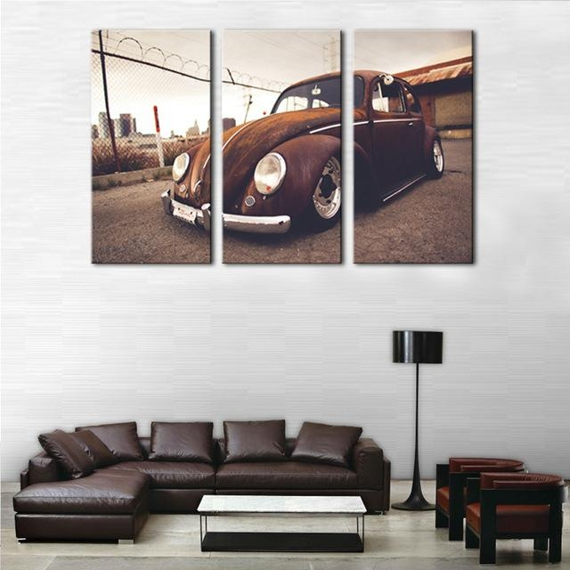 3 Picture Combination Wall Art Beetle Volkswagen Vintage Classical Within Retro Canvas Wall Art (Photo 2 of 20)
