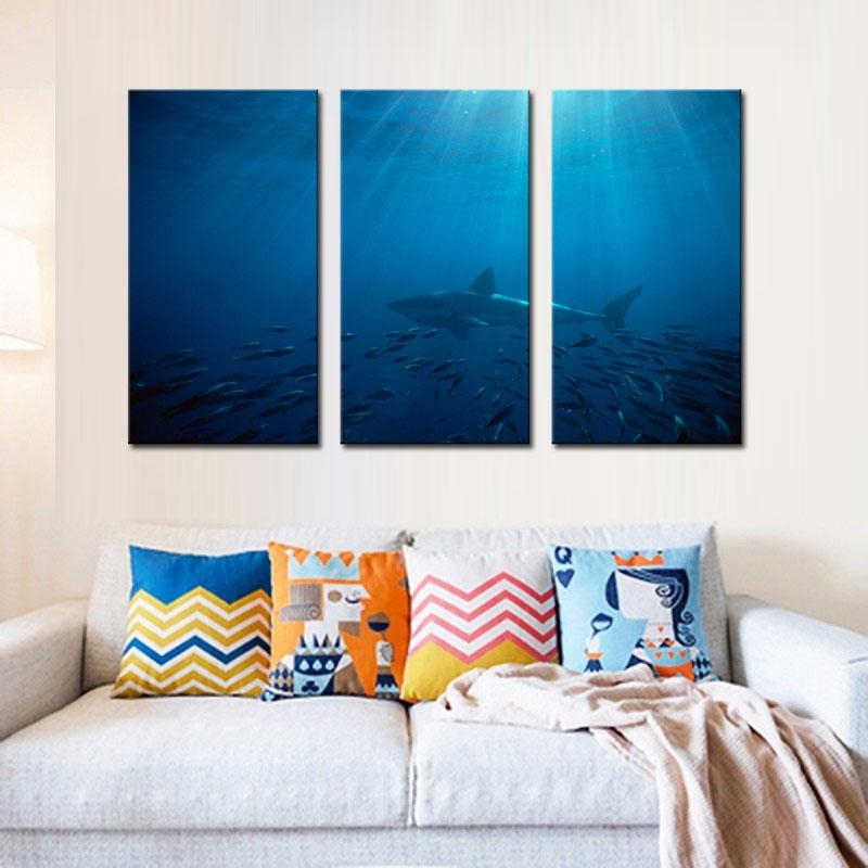 3 Picture Combination Wall Art Painting Great White Shark In Regarding Canvas Wall Art In Australia (Image 3 of 20)