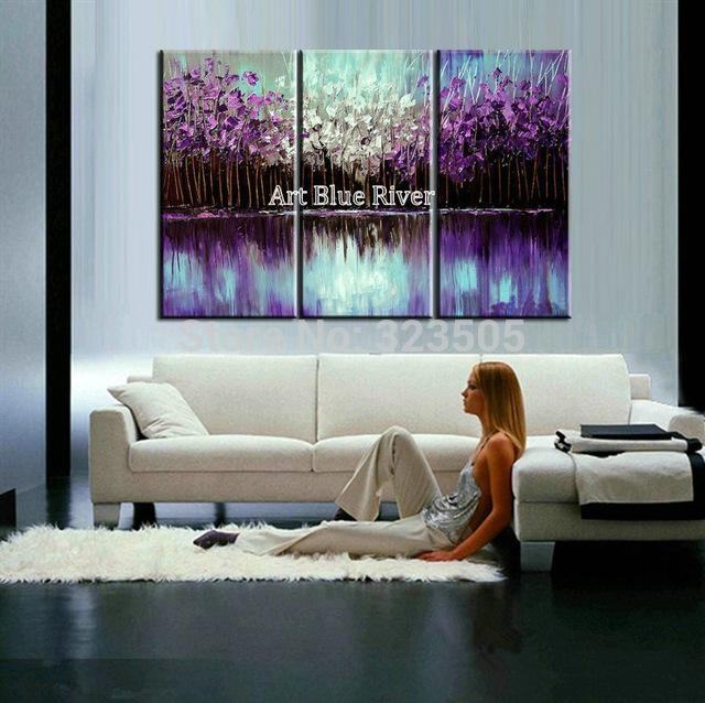 3 Piece Abstract Canvas Art Painting Triptych Home Goods Wall Art In Abstract Canvas Wall Art Iii (Image 2 of 20)