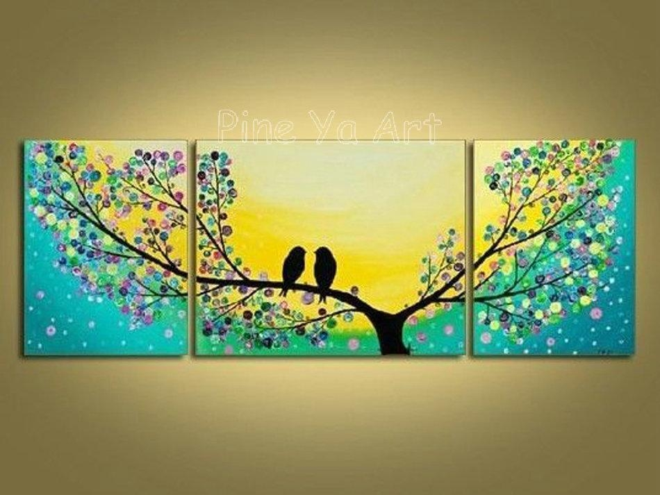 3 Piece Abstract Modern Canvas Wall Art Decorative Tree Artwork Pertaining To Birds Canvas Wall Art (Image 1 of 20)