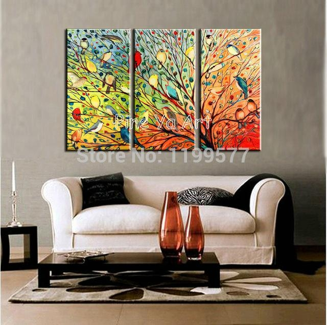 3 Piece Abstract Modern Muti Canvas Wall Art Handpainted Colorful With Abstract Living Room Wall Art (Photo 1 of 20)
