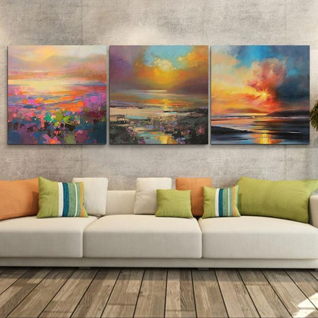 3 Piece Abstract Wall Art Canvas Sunset Beach Prints Modern Wall For Abstract Nature Wall Art (Photo 20 of 20)