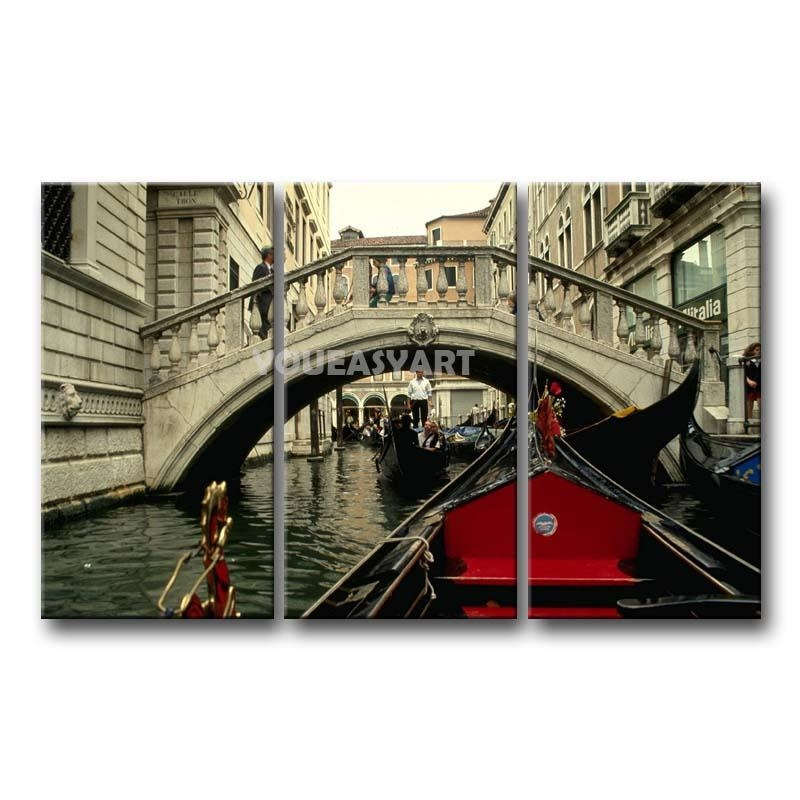 3 Piece Black White And Red Painting On Canvas Wall Art Italy Intended For Canvas Wall Art Of Italy (Image 3 of 20)
