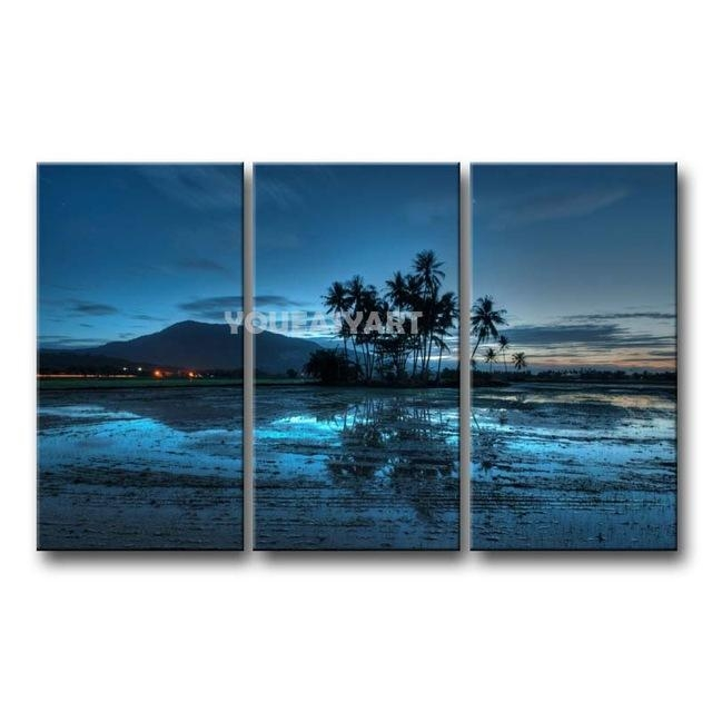 3 Piece Blue Painting On Canvas Wall Art Malaysia Palms Sunset Within Malaysia Canvas Wall Art (Image 2 of 20)