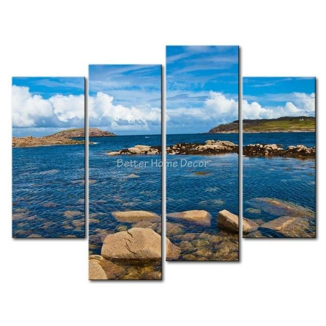 3 Piece Blue Wall Art Painting Cruit Island Ireland Clear Water With Regard To Ireland Canvas Wall Art (Photo 3 of 20)