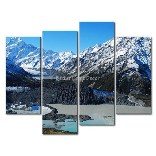 3 Piece Blue Wall Art Painting Mount Cook New Zealand Snow Intended For New Zealand Canvas Wall Art (Image 1 of 20)