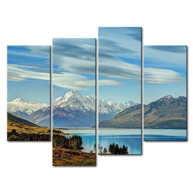 3 Piece Blue Wall Art Painting South Island New Zealand Snow In New Zealand Canvas Wall Art (Image 2 of 20)