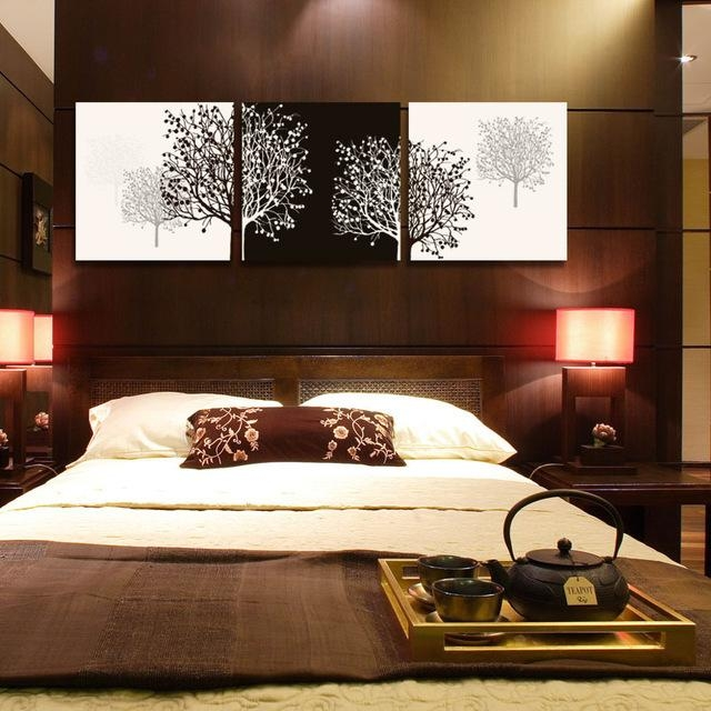 3 Piece Canvas Wall Art Tree Black Canvas Prints Abstract Large Throughout Bedroom Canvas Wall Art (Image 2 of 20)