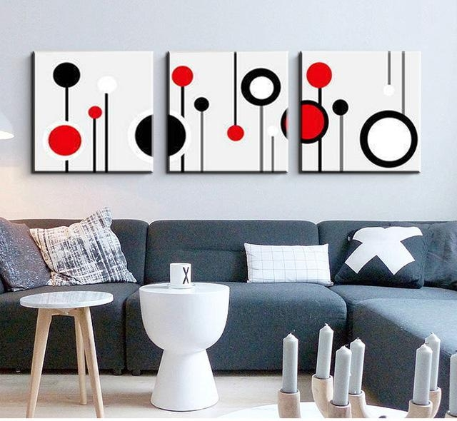 3 Piece Canvas Wall Art Wall Picture Modern Wall Abstract Oil For Canvas Wall Art In Red (Image 4 of 20)