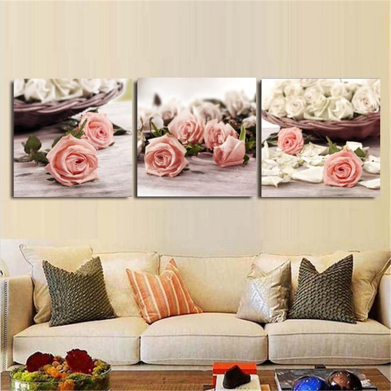 3 Piece Canvas Wall Art Wall Pictures Modern Wall Painting Rose Regarding Roses Canvas Wall Art (View 17 of 20)